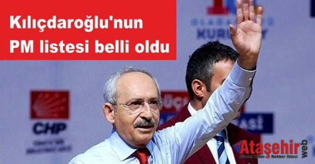 Kılıçdaroğlu'nun PM listesi belli oldu