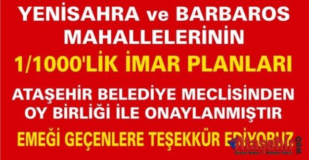 Yenisahra ve Barbaros Mahallesinin 1/1000'lik İmar Planları Onaylandı