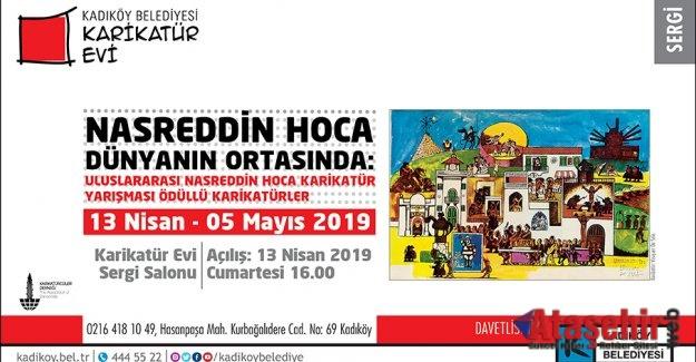 """""""NASREDDİN HOCA DÜNYANIN ORTASINDA"""" SERGİSİ KARİKATÜR EVİ'NDE"""