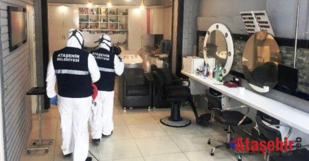 Ataşehir'de Açılışa Hazırlanan Kuaförler Dezenfekte Edildi