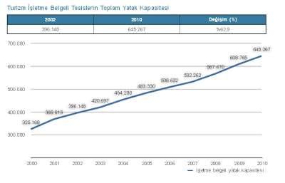 TÜRKİYE'DE TURİZM TESİSLERİNİN YATAK SAYISI 2002 İLE 2010 ARASINDA YÜZDE 62,9 ARTIŞ GÖSTERDİ.