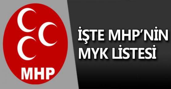 MHP, YENİ MYK LİSTESİ