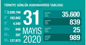 31 Mayıs 2020 Koronavirüs tablosu