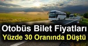 Otobüs bilet fiyatları yüzde 30...