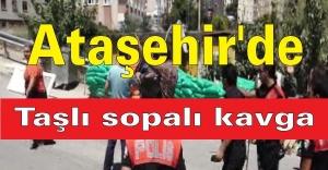 Ataşehir'de İki Aile Arasında taşlı sopalı kavga