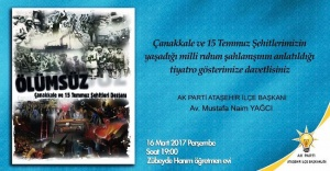 Çanakkale ve 15 Temmuz Şehitleri Ataşehir'de anılacak