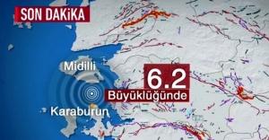 Ege'de 6,2 büyüklüğünde deprem Korkuttu