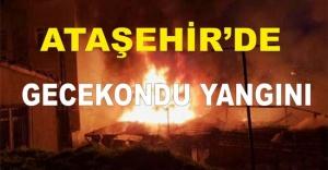 Ataşehir'de gecekondu yandı.