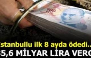 İSTANBUL'DAN 8 AYDA 236,5 MİLYAR VERGİ