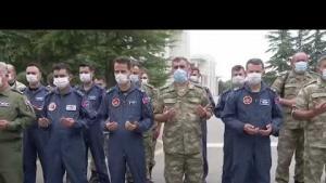 TurAz Kartalı Tatbikatında Türk ve Azeri Askerleri Arasında Bayramlaşma 2020