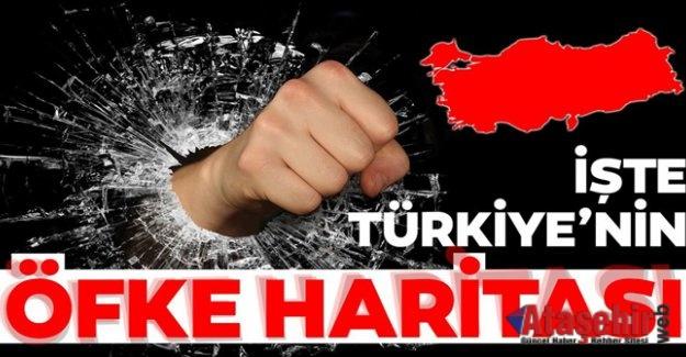 """Türkiye'nin """"öfke"""" haritası açıklandı"""