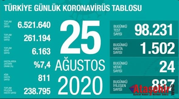 25 Ağustos Koronavirüs Türkiye tablosu