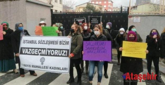 """Kadınlar Ataşehir'de eylemdeydi: """"İstanbul Sözleşmesi bizim"""""""