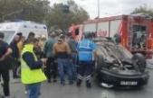 Ataşehir'de takla atan otomobilin sürücüsü yaralandı