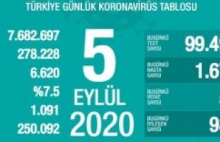 Türkiye'de 5 Eylül 2020 koronavirüs tablosu...