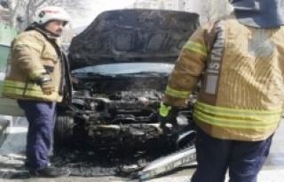 Ataşehirde park halindeki araç alev alev yandı